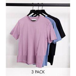 Lot de 3 t-shirts classiques - Noir/bleu/rose - Topman - Modalova