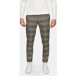 Pantalon cargo skinny stretch à carreaux - Neutre - Topman - Modalova