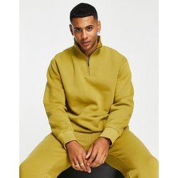 Sweat-shirt d'ensemble à col zippé - Olive - Topman - Modalova