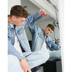 Veste en jean oversize avec déchirures - délavé clair - Topman - Modalova