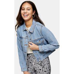 Petite - Veste en jean courte - Bleu délavé moyen - Topshop - Modalova