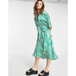 Robe chemise mi-longue en satin à motif zèbre - Topshop - Modalova
