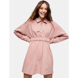 Robe courte zippée avec col et taille froncée - Blush - Topshop - Modalova