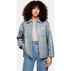 Veste chemise en imitation cuir effet croco - Bleu - Topshop - Modalova