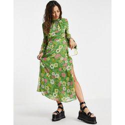 Tosphop - Robe mi-longue manches longues à dos ouvert et imprimé floral rétro style années70 - Topshop - Modalova