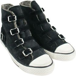 Virginy Sneakers In Leather With Fur - Ash - Modalova