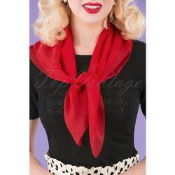 S Chiffon Scarf in Lipstick Red - unique vintage - Modalova