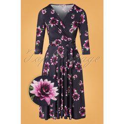 Caryl Floral Swing Dress Années 50 en Marine - vintage chic for topvintage - Modalova