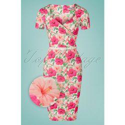 Femmy Floral Pencil Dress Années 50 en Ivoire et - vintage chic for topvintage - Modalova