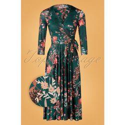 Colette Floral Swing Dress Années 50 en Foncé - vintage chic for topvintage - Modalova