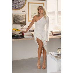 Design À Une Manche Robe Midi À Taille Froncée - White - Angelica Blick x NA-KD - Modalova