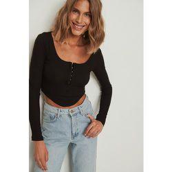 Haut côtelé avec détail corset - Black - NA-KD Trend - Modalova