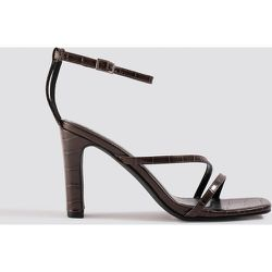 Croco Strappy Flat Heel Sandals - Brown - NA-KD Shoes - Modalova