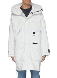X Angel Chen 'Morgan Rain Snow Mantra' Logo Stripe Patch Pocket Raincoat - CANADA GOOSE - Modalova