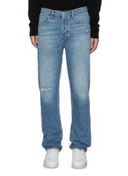 Vintage Distressed Straight Legged Med Wash Ripped Knee Jeans - FRAME DENIM - Modalova