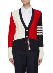 Pannelled Pointelle Cable Wool Cardigan - THOM BROWNE - Modalova