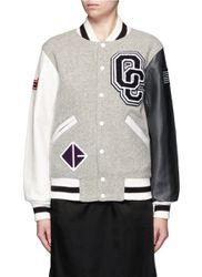 OC' leather sleeve classic varsity jacket - OPENING CEREMONY - Modalova