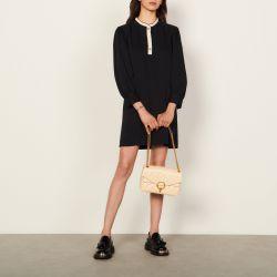 Dress with two-tone ruffle trim - Sandro - Modalova