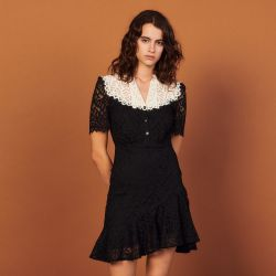 Two-tone lace dress - Sandro - Modalova