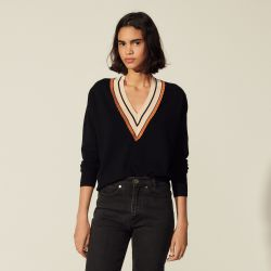 Sweater with striped neckline - Sandro - Modalova