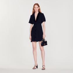 Short dress with shawl neck - Sandro - Modalova