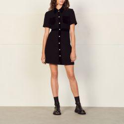 Dual-material tweed dress - Sandro - Modalova