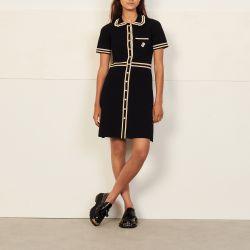 Short-sleeved dress with contrast trim - Sandro - Modalova
