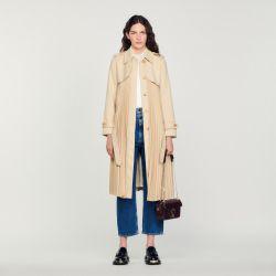 Pleated trench coat with belt - Sandro - Modalova