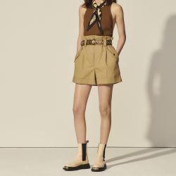 High-waisted organic cotton shorts - Sandro - Modalova