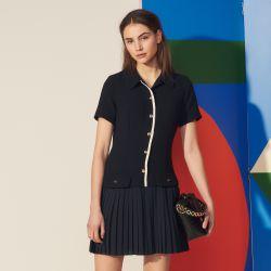 Mixed material pleated dress - Sandro - Modalova