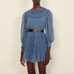 Short draped and ruffled dress - Sandro - Modalova
