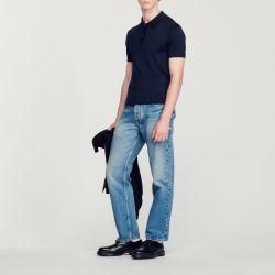Fine knit polo shirt with short sleeves - Sandro - Modalova