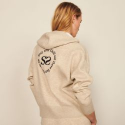 Zipped hoodie with an embroidered back - Sandro - Modalova