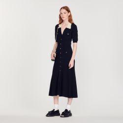 Long knitted dress - Sandro - Modalova