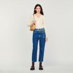 Fine ribbed knit cardigan - Sandro - Modalova