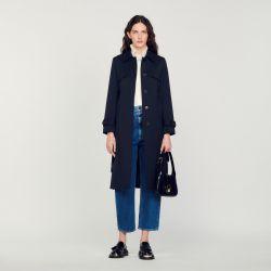 Trench coat with pleated inset - Sandro - Modalova