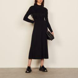 Long wool dress with fringing - Sandro - Modalova