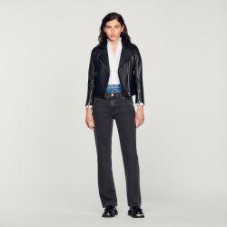 Leather jacket - Sandro - Modalova