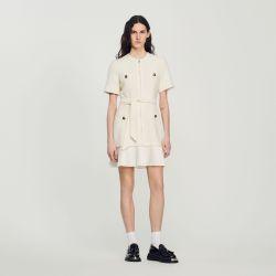 Tweed-effect woollen coat dress - Sandro - Modalova