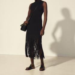 Sleeveless dress with fringing - Sandro - Modalova