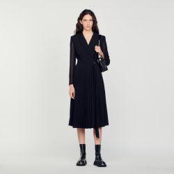 Dual-material long-sleeved dress - Sandro - Modalova