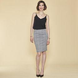 Jupe crayon à carreaux taille élastique - Carreaux noir / blanc - 3 SUISSES - Modalova