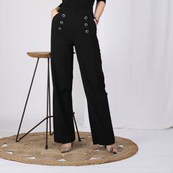 Promo : Pantalon boutons fantaisie poches et pinces - Noir - 3S. x Le Vestiaire - Modalova