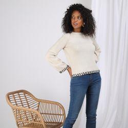 Promo : Pull manches longues plissées évasées et laine contrastée - Ivoire - 3S. x Le Vestiaire - Modalova
