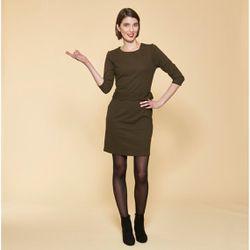 Promo : Robe courte manches 3/4 taille pièce ondulée - Kaki - 3 SUISSES - Modalova
