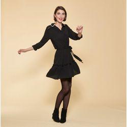 Promo : Robe courte manches longues taille élastique et ceinture contrastée - Noir - 3 SUISSES - Modalova