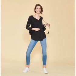 Promo : Tee-shirt col caftan manches longues volantées plis et dentelle - Noir - 3 SUISSES - Modalova