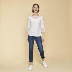 Tee-shirt empiècements et manches 3/4 volantées avec tulle brodé - écru - 3 SUISSES - Modalova