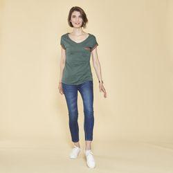Promo : Tee-shirt fendu col V manches courtes - Vert Bouteille - 3 SUISSES - Modalova