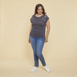 Promo : Tee-shirt fendu manches courtes et punaises grandes tailles - Gris - 3 SUISSES - Modalova